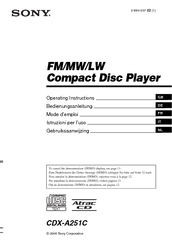Sony CDX-A251C - Fm/am Compact Disc Player Operating Instructions Manual