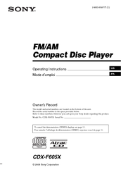 sony cdx f605x fm am compact disc player manuals rh manualslib com CDX- GT57UP Sony Car Radio CD Player
