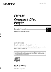sony cdx fw570 operating instructions (primary manual) operatingsony cdx fw570 operating instructions (primary manual) operating instructions manual pdf download