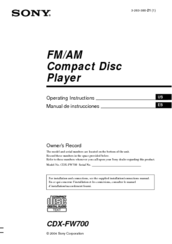 sony cdx fw700 fm am compact disc player manuals rh manualslib com sony cdx-fw700 wiring diagram Residential Electrical Wiring Diagrams