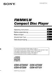 we have 7 sony cdx-gt220 - fm/am compact disc player manuals available for  free pdf download: operating instructions manual,