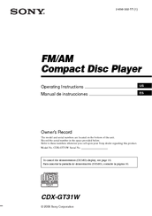 Sony CDX-GT31W - Fm/am Compact Disc Player Operating Instructions Manual