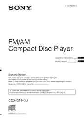 Sony CDX-GT440U - Fm/am Compact Disc Player Operating Instructions Manual