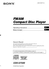 Sony    CDX   GT500  Fmam Compact Disc Player Manuals