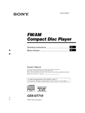 Sony    CDX      GT710     Fmam Compact Disc Player Manuals