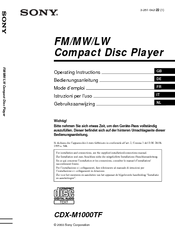 Sony CDX-M1000TF Manuals on