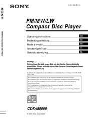 Sony CDX-M8800 - Fm/am Compact Disc Player Operating Instructions Manual