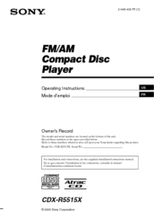 Sony CDX-R5515X - Fm/am Compact Disc Player Operating Instructions Manual