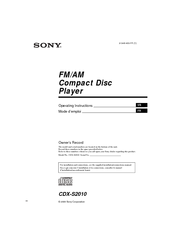 Sony CDX-S2010 - Fm/am Compact Disc Player Manuals on sony stereo wire harness diagram, sony radio cdx-gt565up, sony xplod car stereo, sony cdx-gt700hd, sony wiring harness colors, sony xav 61, sony vaio laptop parts diagram, sony computer wiring, sony mex bt38uw, sony faceplate cd player cdx-gt, sony receiver wiring diagram, sony xplod cdx-gt520, sony wire harness color codes, sony gt540ui no illumination wire, sony radio remote wire on blue, sony m 610 wiring harness diagram, sony dvd wiring, sony head unit wiring diagram, sony cdx-gt57up ignition wire, sony gt340 diagram,