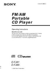 Sony D-FJ61 D-FJ65 Operating Instructions Manual