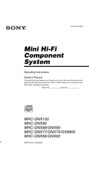 Sony MHC-GNX66 Operating Instructions Manual