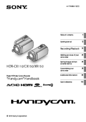 Sony HANDYCAM HDR-CX150 User Manual