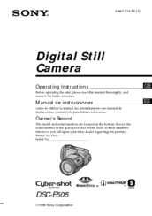 Sony Cyber-shot DSC-F505 Operating Instructions Manual