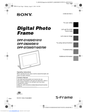Sony S-Frame DPF-D810 Operating Instructions Manual