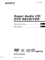 Sony AVD-S500ES - Dvd Player/receiver Operating Instructions Manual