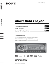 Sony MEX-DV2000 - DVD Player With Radio Operating Instructions Manual