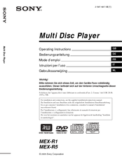 Sony MEX-R5 - Multi Disc Player Operating Instructions Manual