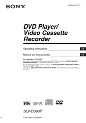 Sony D380P - SLV - DVD/VCR Operating Instructions Manual