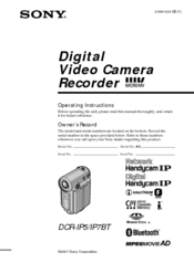 Sony DCR-IP7BT - Network Handycam Ip Operating Instructions Manual