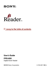 sony prs 600 user s guide manuals rh manualslib com Sony Reader PRS-300 Sony Tablet