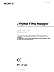 Sony film imager Instructions For Use Manual