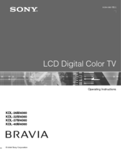 Sony KDL-26M4000/T - Bravia M Series Lcd Television Operating Instructions Manual