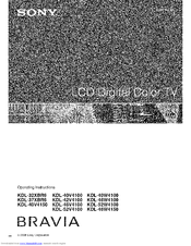 Sony BRAVIA KDL-37XBR6 Operating Instructions Manual