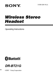 Sony DR-BT21G - Stereo Bluetooth Headset; Neckband Style Operating Instructions Manual