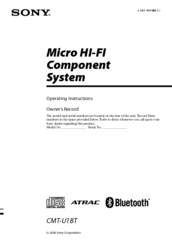 Sony CMT-U1BT - Micro Hi-fi Component System Operating Instructions Manual