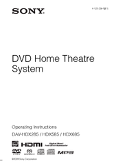 Sony DAV-HDX285 - Bravia Theater Home System Operating Instructions Manual