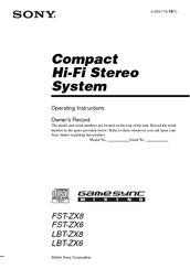 Sony HCD-ZX6 - Cd/receiver Component For Compact Hi-fi Stereo System Operating Instructions Manual