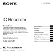 Sony ICD-BX700 Operating Instructions Manual