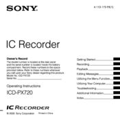 sony icd px720 operating instructions manual pdf download rh manualslib com sony digital voice recorder icd-px720 software download sony digital voice recorder icd-px720 software download