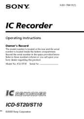sony icd st10 icd recorder manuals rh manualslib com Sony Digital Voice Recorder Sony Digital Recorder Voice Activated