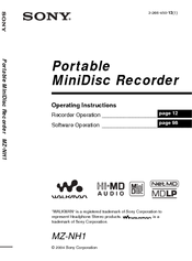 Sony Hi-MD Walkman MZ-NH1 Operating Instructions Manual