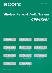 Sony CPF-IX001 - Wireless PC-Linked Audio System Operating Instructions Manual