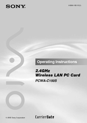 Sony PCWA-C150S - Wireless Lan Pc Card Operating Instructions Manual