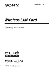 Sony Clie Gear PEGA-WL100 Operating Instructions Manual