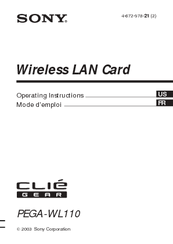 Sony Clie Gear PEGA-WL110 Operating Instructions Manual