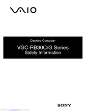 Sony VAIO VGC-RB39CP Safety Information Manual