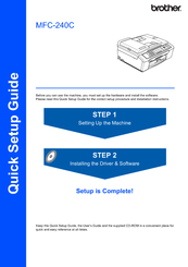 Brother MFC 240C - Color Inkjet - All-in-One Quick Setup Manual