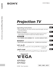 Sony WEGA KP-FX53M61 Operating Instructions Manual