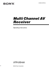 Sony STR-DE400 Operating Instructions Manual