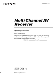 Sony STR-DG510 Operating Instructions Manual