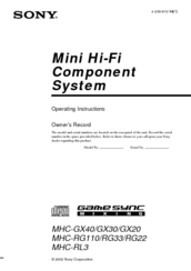 Sony MHC-RG22 Operating Instructions Manual