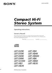 Sony LBT-D590 - Compact Hifi Stereo System Operating Instructions Manual