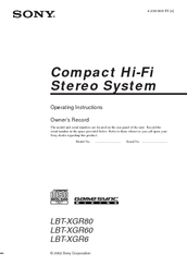 Sony LBT-XGR6 - Compact Hi-fi Stereo System Operating Instructions Manual