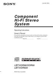 Sony LBT-XGR600 - Compact Hi-fi Stereo System Operating Instructions Manual