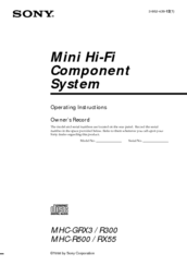 Sony MHC-R500/RX55 Operating Instructions Manual