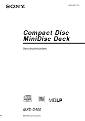 sony mxd d400 compact disc minidisc deck repair manual